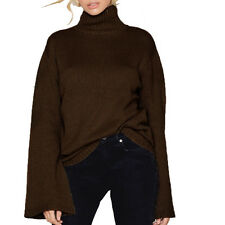Women Fashion Bell Sleeve Pullover Top Turtleneck Jumper Casual Knitted Sweaters