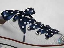 Fashion Colours Polka Dot Ribbon Shoelaces with LOGO Aglets for Trainers & Pumps