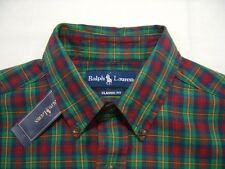 Polo Ralph Lauren PONY XL Shirt Button Down Front Mens Green Red Yellow Madras