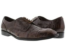 mens brown dolce pelle real crocodile gator skin dress shoes oxford wing tip