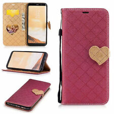 Red Grid  Heart-Shaped Hasp Wallet PU Leather Cover Case For Various Phones