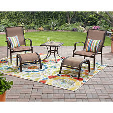 5 Piece Sling Patio Leisure Seating Set Outdoor Home Living Furniture Ottoman