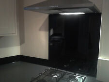 Black Toughened Glass Splashback 600 x 750mm and custom sizes