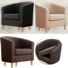 SINGLE SEATER CUSHIONED TUB CHAIR LINEN FABRIC ARMCHAIR SOFA LOUNGE FURNITURE UK