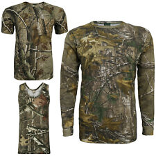 Men's Camouflage RealTree Camo T-Shirt Forrest Print Long/Short/No Sleeve Tops