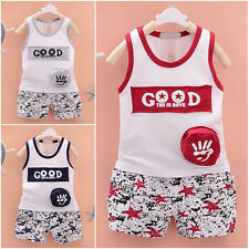 Cute Cartoon Printing Baby Boys Vest Tops+Shorts Outfits Summer Clothes Set
