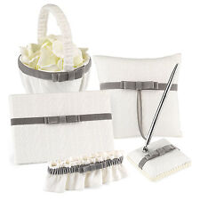 White Silver Grey Velvet Wedding Guest Book Pen Ring Pillow Basket Garter Set