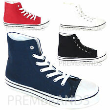 NEW LADIES WOMENS HI HIGH TOP LACE UP FLAT CANVAS PUMPS TRAINERS PLIMSOLLS SHOES