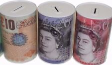 Pound Note Design Kids Money Box Tin Saving Cash Locked Style
