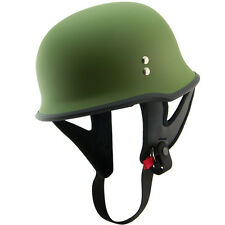Outlaw T-75 Flat Green Retro German Army Style Motorcycle Half Helmet Skull Cap