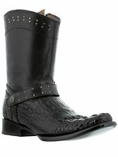 mens black crocodile alligator head casual zipper western cowboy boots harness
