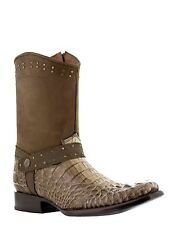 mens light brown exotic crocodile head western leather cowboy boots square rodeo