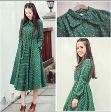 Autumn And Winter Fashion Ankle Length Green Color Long Sleeve Dress For Women
