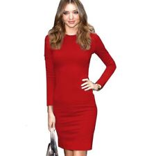 Autumn Red Blue Color Vintage Long Sleeve Formal Zipper Women Dress