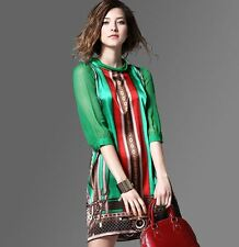 Women Style Summer Elegant Vintage Pattern Green Print Dress Plus Size