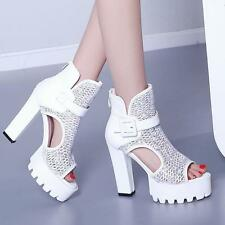 2017 Womens peep toe high chunky heels platform sandals buckle shoes boots Size