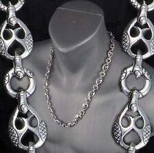TRIBAL DRAGON SNAKE RINGS MENS NECKLACE CHAIN 925 STERLING SILVER 20 22 24 26""