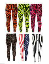 New Womens Ladies Zebra Animal Print Neon Fluorescent Leggings Pant Trouser 8-14