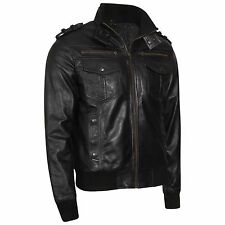 NEW MENS STYLE FASHION BLACK REAL LEATHER MULTI POCKETS SLIM FIT BIKER