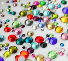 1000 Rhinestones -Acrylic Crystal Flat Back Resin Diamante Gems Crafts Nail Art