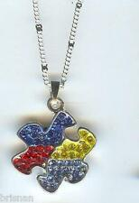 Crystals AUTISM AWARENESS Puzzle Charm, Pendant & .925 Silver Necklace - N209