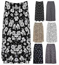 Womens Plus Size Paisley Floral Print Elasticated Stretch Waist Midi Skirt M-2XL
