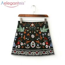 A-Line Mini Ethnic Women Short Black Embroidered High Waist Floral Vintage Skirt