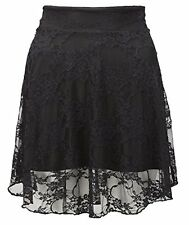 New Ladies Plus Size Floral Lace Skater Skirt Womens Flare Mini Skirt Size 8 -22