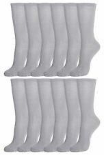 12 Pairs of Womens Crew Socks, Cotton, Basic, White, Black, or Gray Bulk Pack