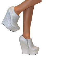 ladies Silver glitter high heel wedge platform party prom shoes uk size 4 Eu 37