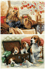 NEW UNOPENED Russian Counted Cross Stitch KIT Riolis Dog Puppies
