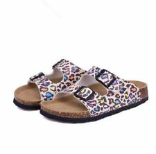 Double Buckle Printed Slip on Slides Flat Plus Size Sandal For Women