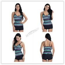 Urban Virgin Two Piece Sport Swimsuit Padded Tankini With Boyshorts Stripes