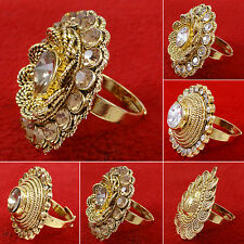 Goldplated Indian Traditional Bollywood CZ Stone Women Wedding Ring Jewelry