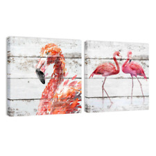 Vintage Red Flamingo Wood Grain Canvas Art Print Painting Poster Home Wall Decor