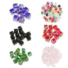 50pcs 6mm Faceted Square Cube Glass Crystal Loose Beads for Jewelery Making