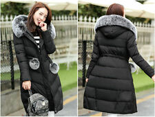 Women Long Winter Jacket Female Hairball Coat Thicken Parka Down Cotton Hooded
