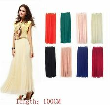 Women Retro Chiffon Pleated Double Layer Skirt Long Elastic Waist Maxi Dress #R1