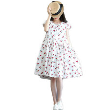 New pure girl cute cherry printing sweet and comfortable cotton dress two colors
