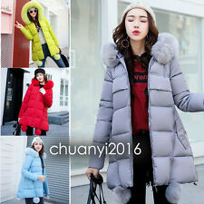 New Winter Women's Jacket Long Down Cotton Parka Hairball Fur Collar Hooded Coat