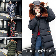 Winter Women's Ears Camouflage Coat Long Down Cotton Parka Hooded Trench Jacket
