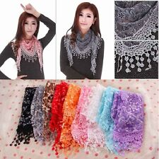 Women Lace Sheer Floral Print Triangle Veil Scarf Shawl Wrap Tassel WP
