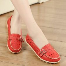 Pu Leather Breathable Red Color Round Toe Casual Flats For Women