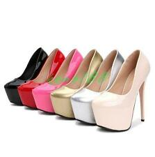 Womens sexy club Platforn Super High slim Heels Patent Leather Pump Party Shoes