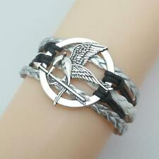 Infinity Love Hunger Games bracelets charm white leather with silver bracelet