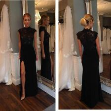 Womens Black High Slit Evening Sleeveless High Neck Lace Formal Dress