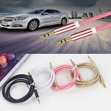 1m 3.5mm Jack Plug Aux Cable Audio Lead For to Headphone/MP3/iPod/Car GOLD