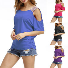 Women Summer Casual Round Neck Half Sleeve Sequins Top Sexy Fashion Shirt Blouse