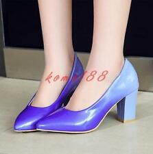 Womens Pointy Toe Block chunky Heel Slip On Pumps Patent Leather formal Shoes