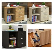 Wooden 3 Drawer Bedside Lamp Table Home Office 2 Shelf Document Storage Cabinet